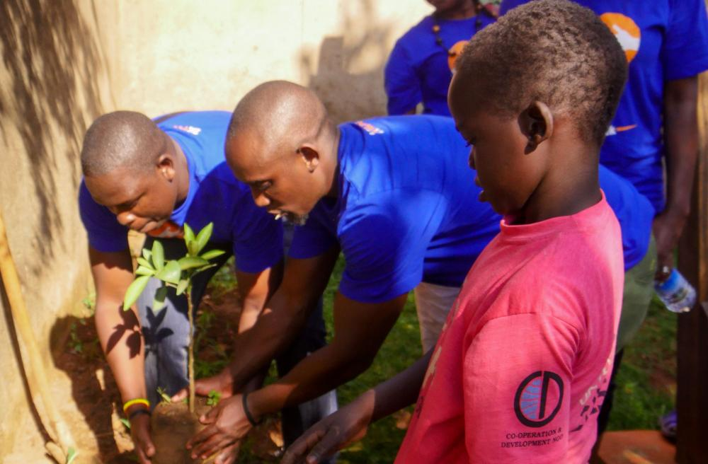 Planting with child